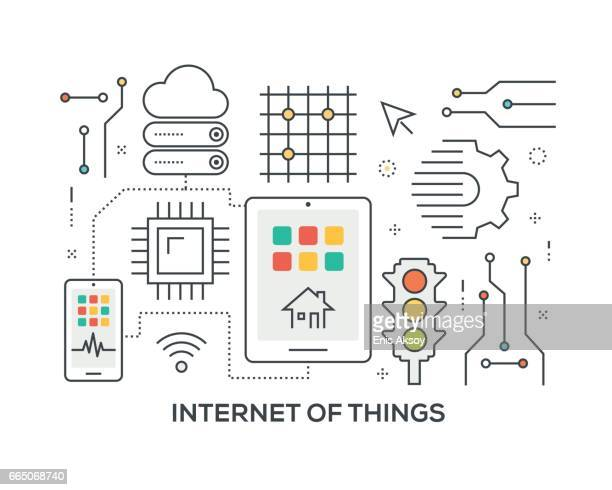 internet of things concept with icons - sensor stock illustrations, clip art, cartoons, & icons