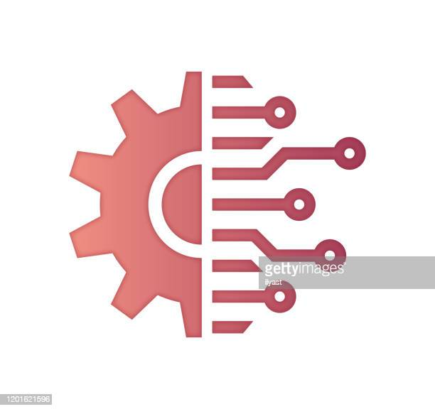 internet of things connectivity gradient fill color & paper-cut style icon design - complexity stock illustrations