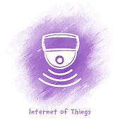 Internet of Things Doodle Watercolor Background