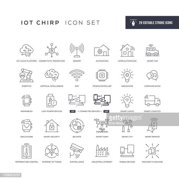 internet of things editable stroke line icons - wireless technology stock illustrations