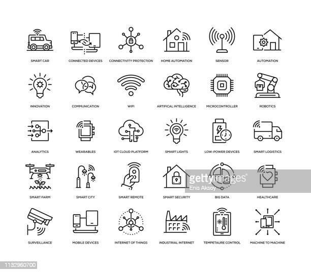 illustrazioni stock, clip art, cartoni animati e icone di tendenza di set di icone internet of things - big data