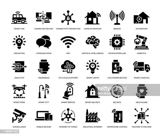 illustrazioni stock, clip art, cartoni animati e icone di tendenza di set di icone internet of things - wireless technology