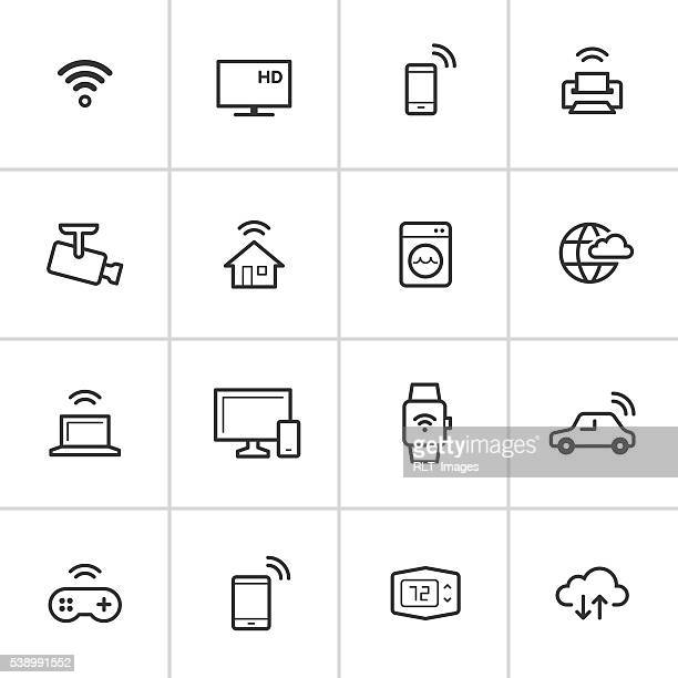 internet of things icons — inky series - security camera stock illustrations