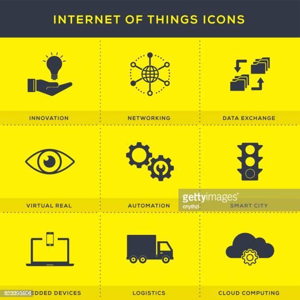 internet of things icons set - sensor stock illustrations, clip art, cartoons, & icons