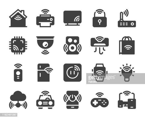 illustrazioni stock, clip art, cartoni animati e icone di tendenza di internet delle cose - icone - sensore