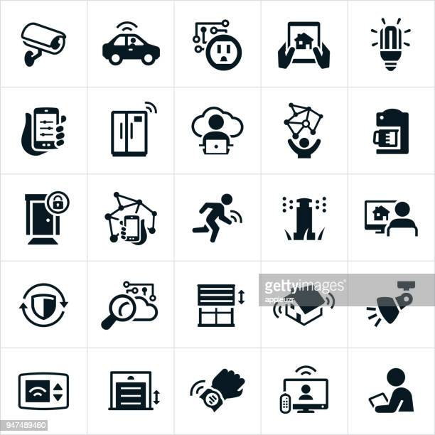 internet of things icons - security camera stock illustrations