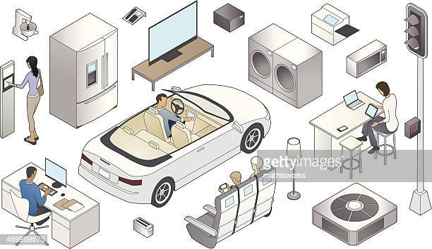internet of things illustration - mathisworks business stock illustrations