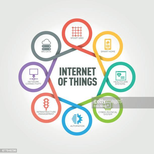 Internet of Things infographic with 8 steps, parts, options
