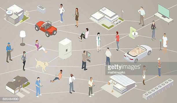 internet of things iot illustration - mathisworks vehicles stock illustrations
