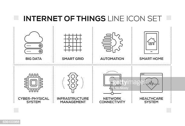 internet of things keywords with monochrome line icons - sensor stock illustrations, clip art, cartoons, & icons