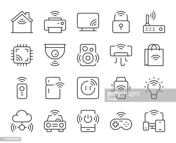 illustrazioni stock, clip art, cartoni animati e icone di tendenza di internet of things - icone delle linee luminose - sensore