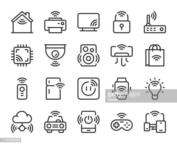 internet of things - line icons - security camera stock illustrations
