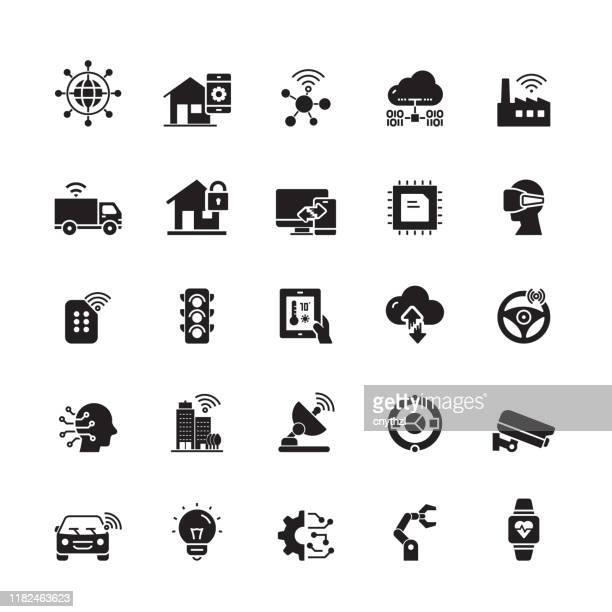 illustrazioni stock, clip art, cartoni animati e icone di tendenza di icone vettoriali correlate all'internet of things - internet delle cose
