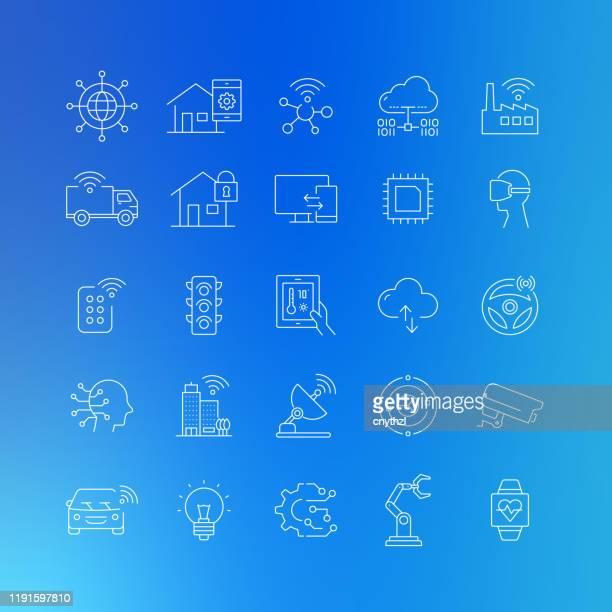 illustrazioni stock, clip art, cartoni animati e icone di tendenza di icone delle linee vettoriali correlate all'internet of things - tratto modificabile - città intelligente