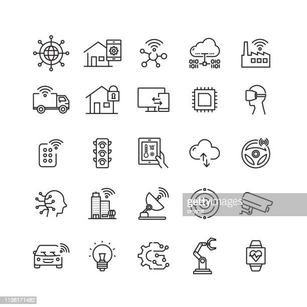 internet of things related vector line icons - smart stock illustrations