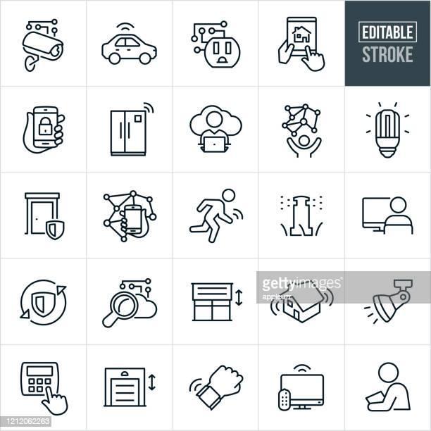 illustrazioni stock, clip art, cartoni animati e icone di tendenza di icone della linea sottile dell'internet of things - tratto modificabile - internet delle cose