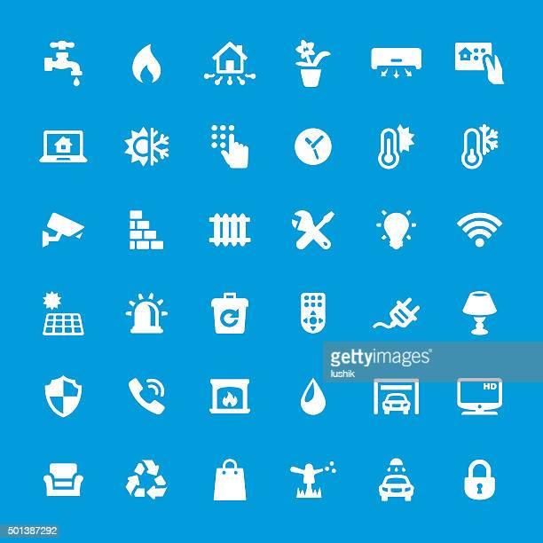 internet of things vector icons set - sprinkler stock illustrations