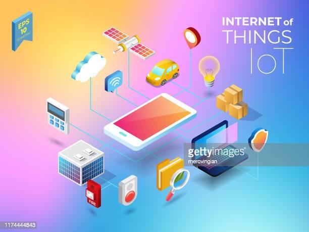 モノのインターネット - 警報機点のイラスト素材/クリップアート素材/マンガ素材/アイコン素材