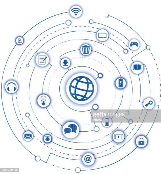 illustrazioni stock, clip art, cartoni animati e icone di tendenza di internet delle cose - internet delle cose