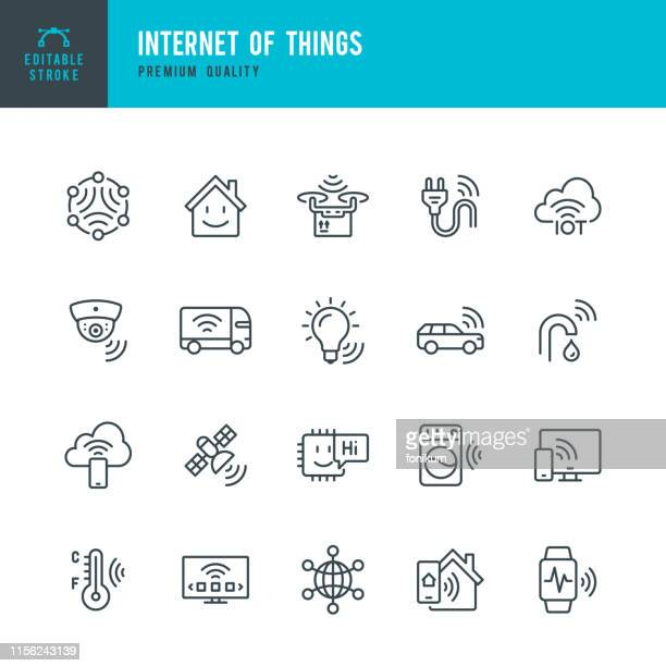 internet of things - vector line icon set. artificial intelligence, machine learning, computer chip, surveillance, internet of things, smart home. outline editable stroke. - security camera stock illustrations