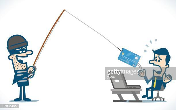 internet phishing - identity theft stock illustrations