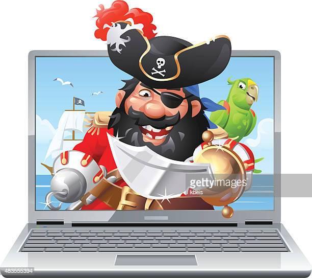 internet piracy - pirate criminal stock illustrations