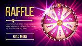 Internet Raffle Roulette Fortune Banner Vector