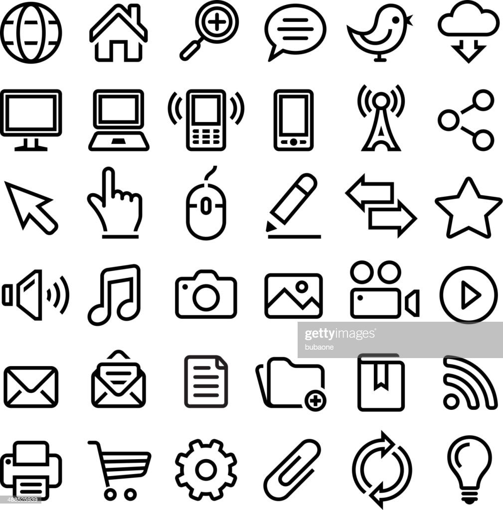 Internet royalty-free vector graphics Black and White vector icon set