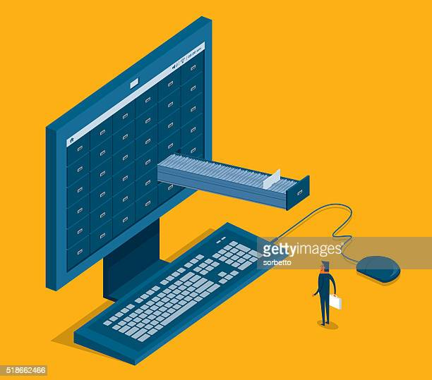 internet search - filing cabinet stock illustrations, clip art, cartoons, & icons