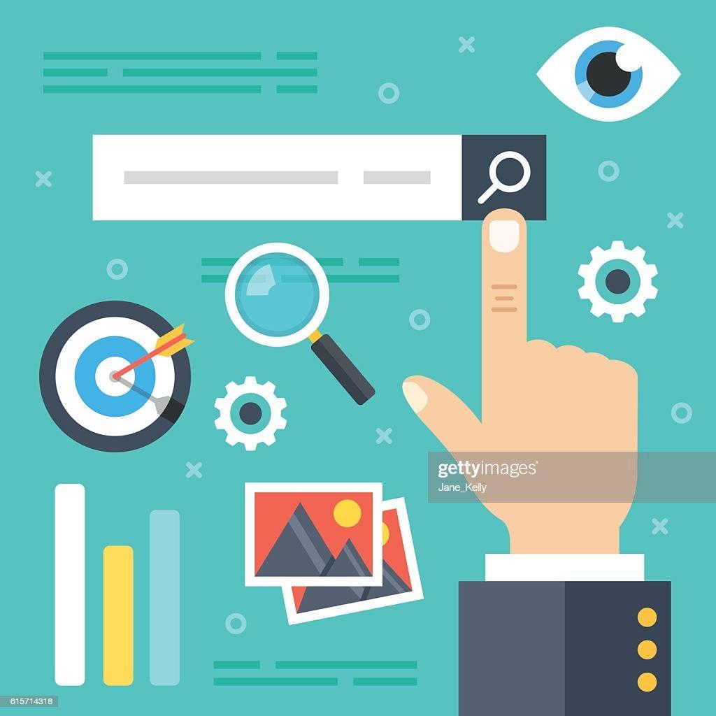 Internet search. Web surfing, find websites, information search. Flat illustration