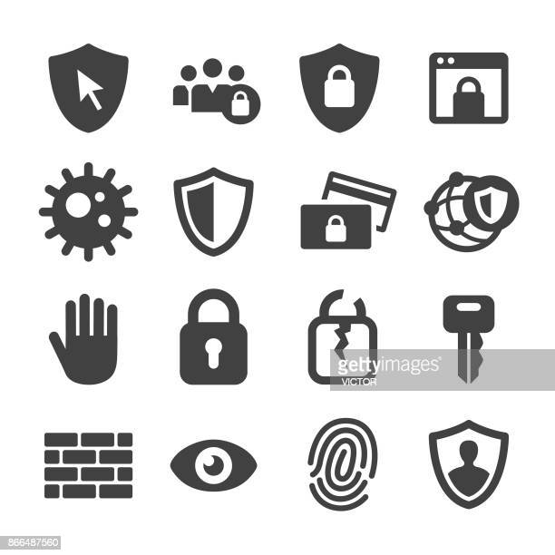 illustrazioni stock, clip art, cartoni animati e icone di tendenza di internet security and privacy icons - acme series - sicurezza