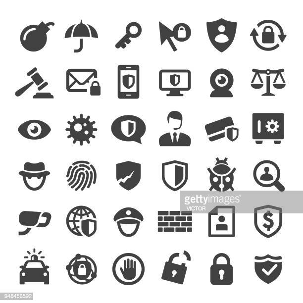 internet security and privacy icons - big series - identity theft stock illustrations