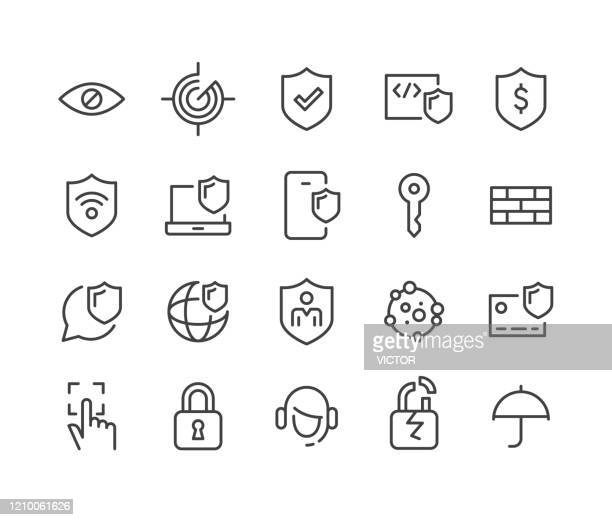 internet security and privacy icons - classic line series - identity theft stock illustrations