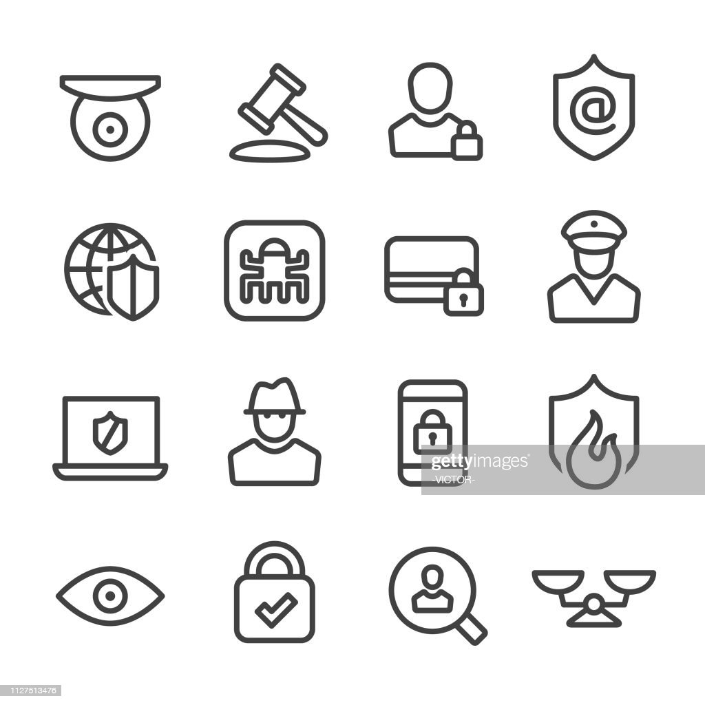 Internet Security and Privacy Icons - Line Series : stock illustration