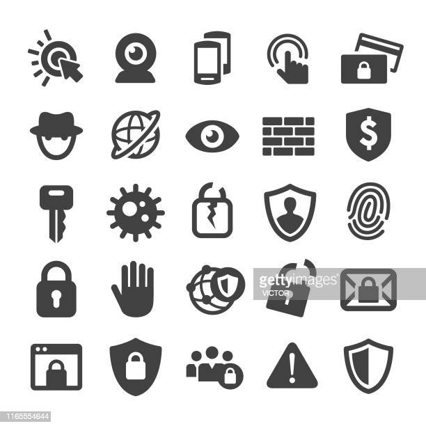 internet security and privacy icons - smart series - identity protection stock illustrations