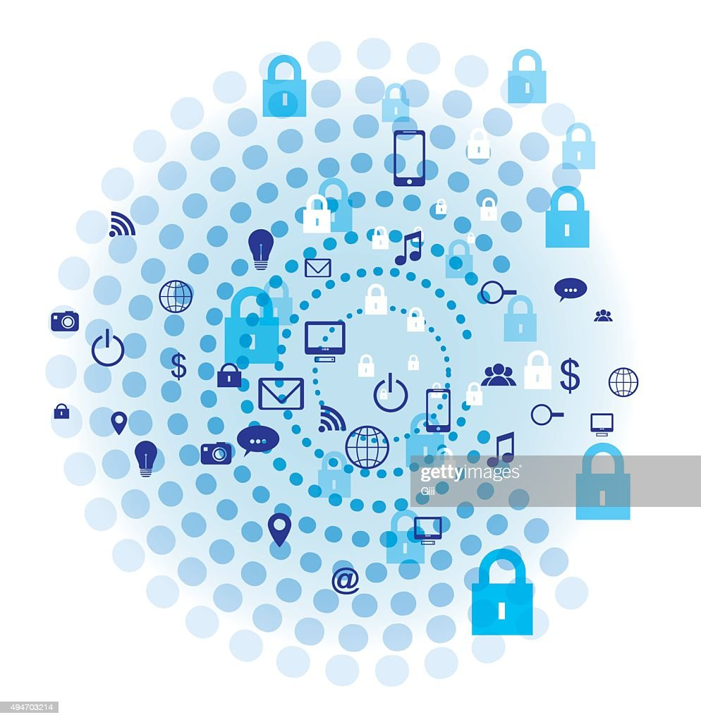 Internet security Concept vector design. Blue concentric circles