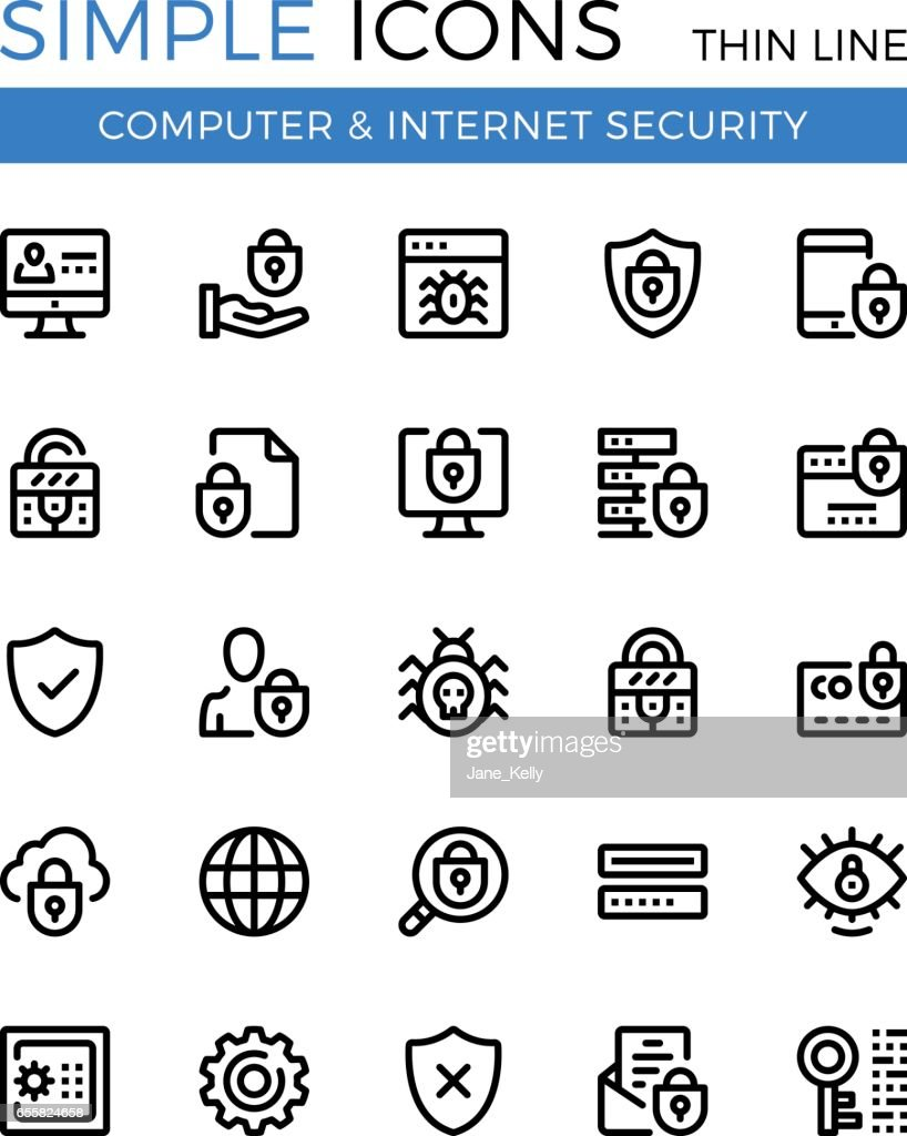 Internet security, cybersecurity, computer protection vector thin line icons set. 32x32 px. Modern line graphic design for websites, web design, etc. Pixel perfect vector outline icons set