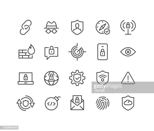 internet security icons - classic line series - computer virus stock illustrations