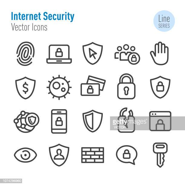 internet security icons - vector line series - identity theft stock illustrations