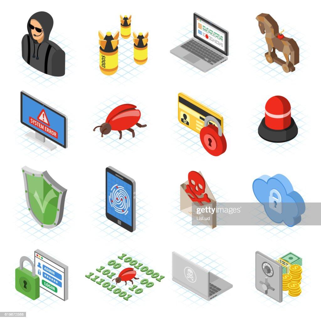 Internet Security isometric Flat Icon Set