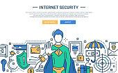 Internet Security - line design website banner