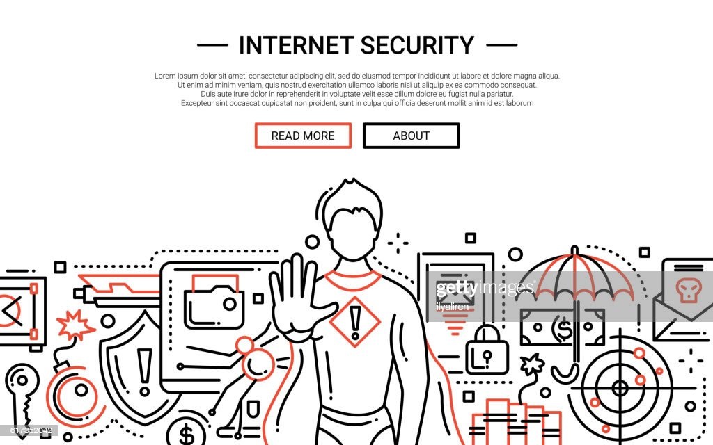 Internet Security - line design website banner