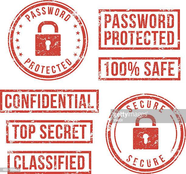 internet security - rubber stamps - confidential stock illustrations