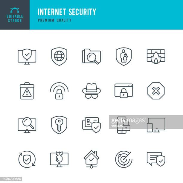 illustrazioni stock, clip art, cartoni animati e icone di tendenza di internet security - set of thin line vector icons - sicurezza