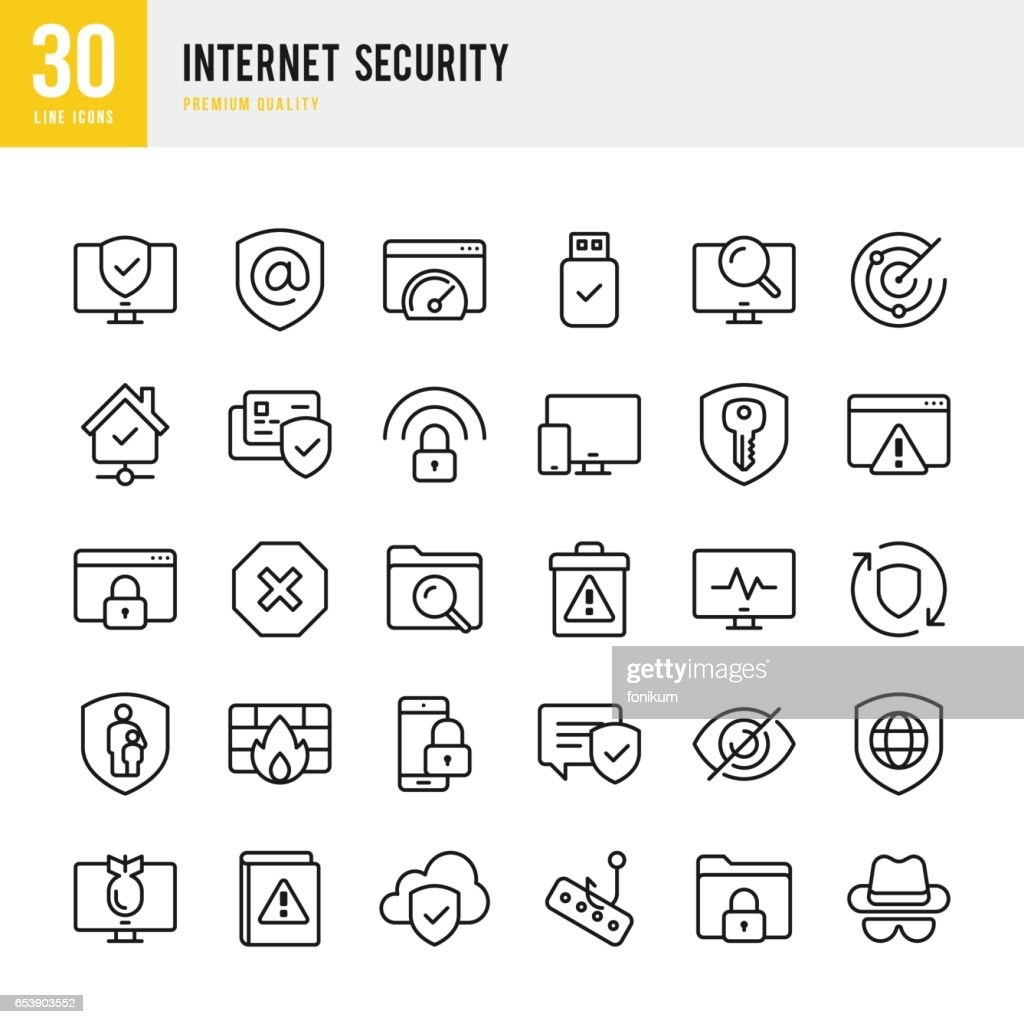 Internet Security - set of thin line vector icons : stock illustration