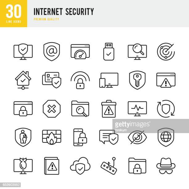 Internet Security - set d'icônes vectorielles fine ligne