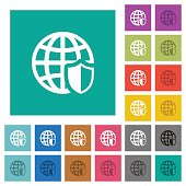 Internet security square flat multi colored icons