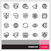 Internet Security thin line vector icons. Web icons set