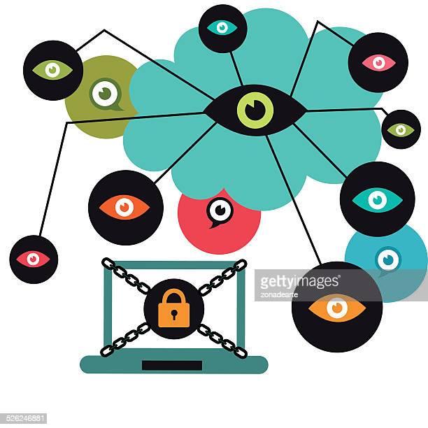 internet security - lock sporting position stock illustrations