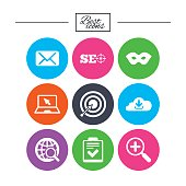 Internet, seo icons. Checklist, target signs.